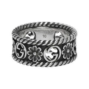 Gucci Silver Interlocking G Flower Ring Size: 10